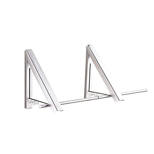 Pagetoc Aluminum Folding Hanger?Silver Wall Mounted Retractable Clothes Hanger Laundry Drying Rack with four Hooks for Room Attic Garage Indoor and Outdoor(2 Racks)