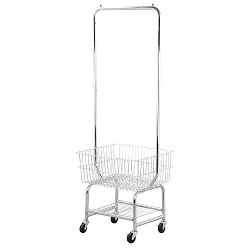 Selva 2 Tiers Rolling Garment Organizer Laundry Cart w/Storage Basket Double Pole Rack Hamper| Heavy Duty 100lbs Capacity Sleek Smooth Surface | for Hotels Restaurants Home Office Apartment Factory