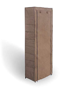 Topline 10-Tier Portable Covered Shoe Tower Closet Rack Organizer with Side Pockets – Mocha