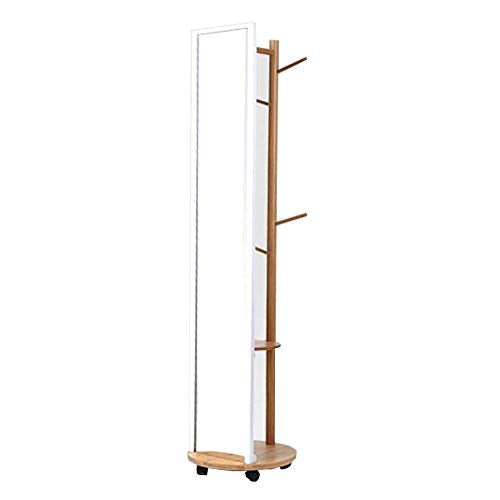 COAT RACK NAN Liang Floor Bedroom Solid Wood with Mirror Hanger Creative Mobile Living Room Mirror Hanger Multi-Functional Clothing Rack