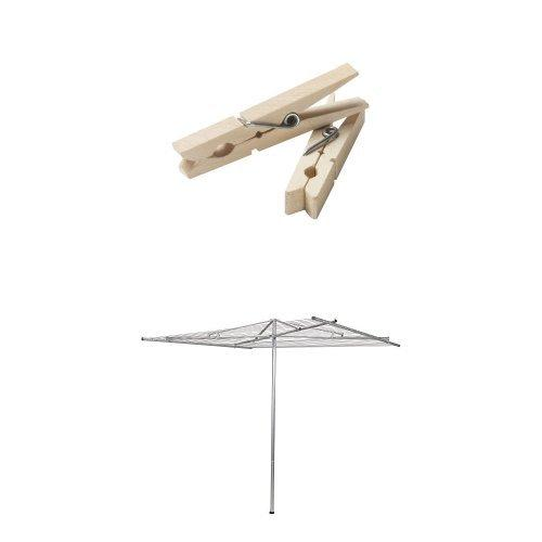 Household Essentials Rotary Outdoor Parallel Drying Rack Bundle | Aluminum | Includes 96 ct Clothespins