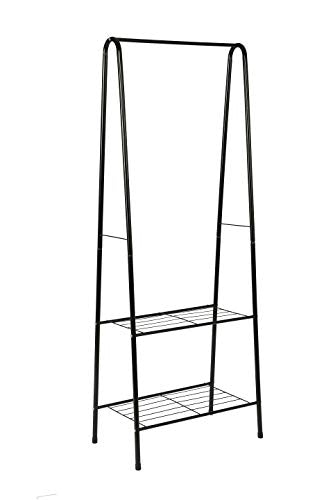 "MULSH Clothing Garment Rack Coat Organizer Storage Shelving Unit Entryway Storage Shelf 2-Tier Metal Shelf in Black, 24.0""Wx15.2""Dx63""H"