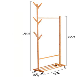 LE Tree Racks and Coat Racks, Living Room Hangers, Bamboo Floor Clothes Racks Bedroom Mobile Storage Rack B