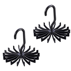 DAMINFE Twirling Tie Rack Hanger, 2 Pack Scarf Belt Tie Organizer, Multifunction 360 Degree Rotating Plastic Tie Hanger Belt Holder with 18 Hook (Black)