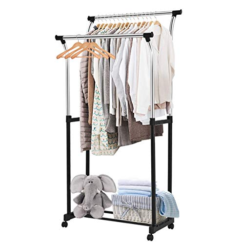 "Tangkula Garment Rack Adjustable Heavy Duty Double Rail Tower Shoes Clothing Storage Organizer with Wheels and Shelves (34""x22.5""x68.5""), Black and Silver"