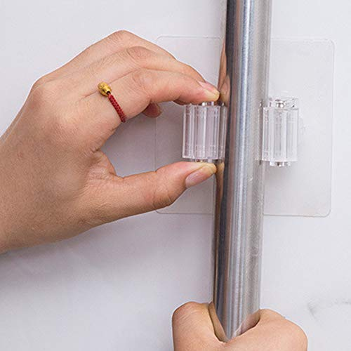 Broom Mop Holder Wall Mounted Mop Organizer Holder Brush Broom Hanger Mop Racks Universal Kitchen Storage Tool Self Adhesive & Reusable Bathroom Kitchen Storage Organizer 1PC (White)