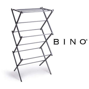 BINO 3-Tier Collapsing Foldable Laundry Drying Rack, Silver