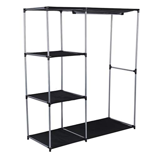 Soberbar Shelving Garment Rack Cloths Garment Organizer Closet Four Layer Portable Clothes Wardrobe Free-Standing Closet Storage Organizer (50inches)