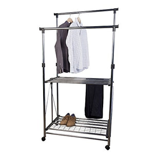 Danya B. Folding Telescopic Double Garment Rack