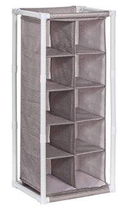 STORAGE MANIAC 5-Tier 10-Cube Cubby Organizer Free Standing Shoe Rack, Portable Shoe Cubby Storage, Coffee