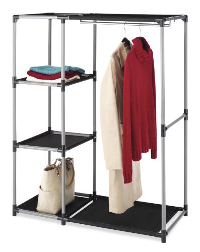 Whitmor Spacemaker Garment Rack and Shelves Silver and Black