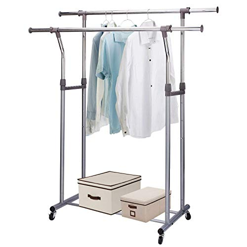 MIZGI Premium Clothes Drying Rack,2 Tier Clothes Rack,Portable Clothes Racks for Drying Clothes,Foldable Clothes Drying Rack,Laundry Rack Drying,Rolling Clothes Rack,Outdoor Indoor (Double Rod)