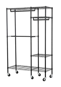 "Muscle Rack EZGR4818RW3-BLK 4-Shelf Steel Garment Rack in Chrome with Wheels, 150 lb. Load Capacity, 74"" Height, 48"" Width, 18"" Length"