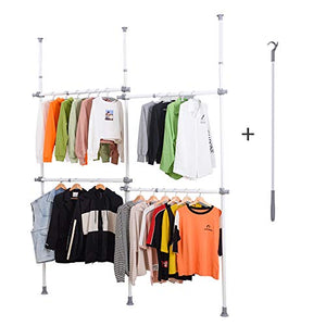 "LUBAN King Adjustable Garment Rack with 4-Tiers Heavy Duty Hang Clothes Rack for Storage and Display, Closet Organizer 440 lb Load with 56"" x 97"" Expands to 102"" x 119"""
