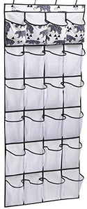 Over The Door Shoe Organizer with 24 Large Pockets Hanging Shoe Rack, White