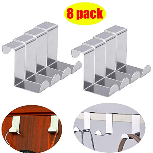8pack Z-shaped Over Door Hangers Stainless Steel Over Door Hooks Cabinet Draw Clothes Coat Hat Towel Pants Jeans Hanger, Heavy Duty Hanging Organizer Racks for Bathroom Bedroom Kitchen Washroom Office