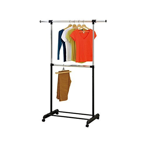 Mind Reader 2 Tier Double Rod Garment Rack, Adjustable, with Wheels, Silver