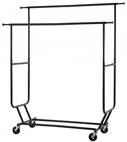 Koonlert@shop Commercial Grade Collapsible Clothing Rolling Double Garment Rack Heavy Duty Steel Hanger/Black #1047