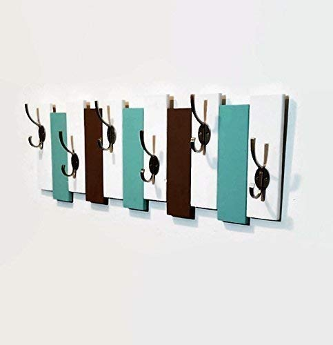Sydney Vertical Planked Wall Mounted Coat, Clothing or Towel Rack, 6 Heavy Duty Double Hooks, Available in 20 colors : Shown in Bright White, Sea Blue & Lab Brown