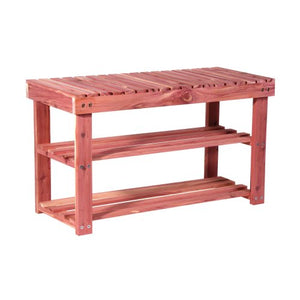 "CedarFresh 2-Tier Cedar Shoe Rack and Seat Bench, 31.5""w x 17.5""h x 12.4""d"