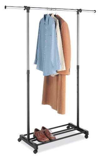 Whitmor Ebony Chrome Deluxe Adjustable Garment Rack
