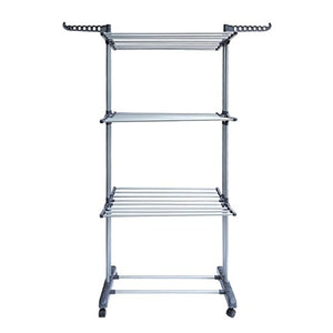Comcastle 3-Tier Clothes Drying Rack with Heavy Duty 360 Degree Wheels, Double Pole Rail Rod Adjustable Clothes Rack Hanger Indoor Outdoor, Compact Storage