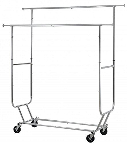 Commercial Grade Collapsible Clothing Rolling Double Garment Rack Heavy Duty Steel Hanger/ Chrome #1047