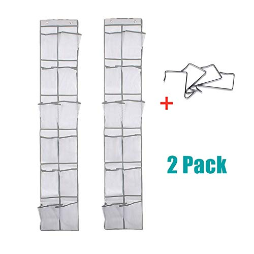NXqilixiang Over The Door Shoe Organizer Hanging Shoe Hanger with 12 Large Clear Mesh Pockets for Narrow Closet Door for Storage Men Sneakers Women High Heeled Shoes Slippers Kids Toy White 2 Pack