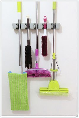 Aromdeeshopping Tools Organizer Wall Mount Magic Mop and Broom Holder Hanger Cleaning 5 Position