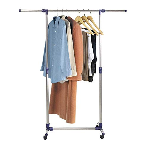 Dporticus Heavy Duty Stainless Steel Portable Adjustable Single Rod Rolling Clothing Garment Rack Extensible Free Standing Clothes Stand for Hanging Clothes with Wheels Commercial Grade for Profession