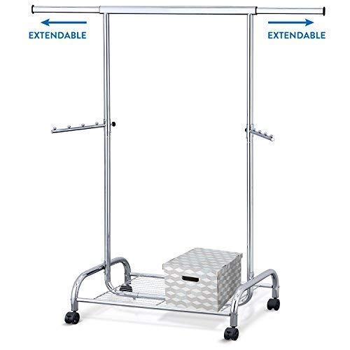 Tatkraft Bull Heavy Duty Adjustable Clothes Rail, Easy to Assemble, Durable Hanger on Wheels, Adjustable Height, Integrated Shoe Rack, Made of Chromed Steel