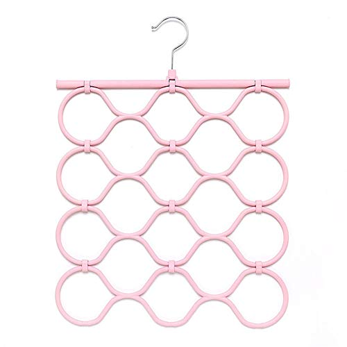 SYT Hangers Scarf Scarf Stand Creative Folding 18 Ring Scarf Stand tie Storage Rack,2 Pieces,Pink