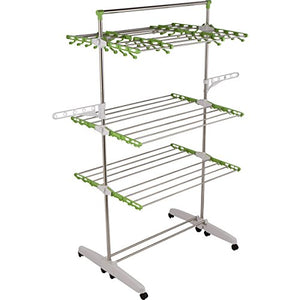 "!iT Jeans High Capacity Heavy Duty 3-Tier Premium Clothes Drying Rack - Fully Adjustable Stainless Steel Racks - Foldable to 7"" for Easy Storage - 8 Casters - Indoor & Outdoor"