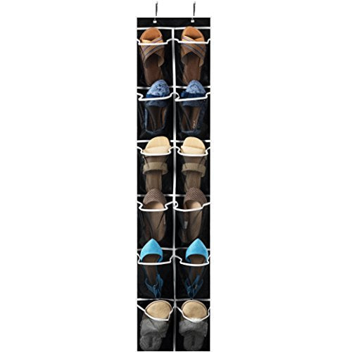 "ZOBER Over The Door Shoe Organizer - 12 Mesh Pockets, Space Saving Hanging Shoe Holder for Maximizing Shoe Storage, Accessories, Toiletries, Etc. No Assembly Required, Organizer for Shoes 57½"" x 12"""