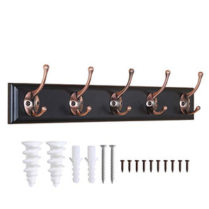 WEBI Coat Rack Wall Mounted,5 Coat Hooks for Hanging,Wooden Coat Hanger Wall Mount Hook Rack Hook Rail for Towel,Hat,Jacket,Clothes,Black