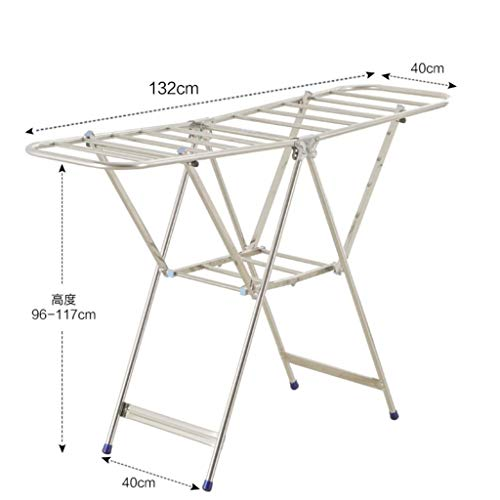 LE Stainless Steel Drying Rack,Airfoil Floor Folding Balcony Drying Rack Indoor Clothes Rack Clothes Hanger D
