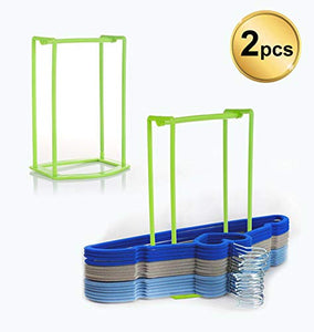 Standing Clothes Hanger Stacker Holder, 2 pcs Drying Rack Caddy Premium Grade PP for Tidier Laundry Room Closet Organizer, Large Capacity Hold Up to 30 Hangers with Manual for Installation
