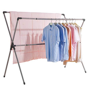 BAOYOUNI Double Poles Folding Clothes Drying Rack Stainless Steel Expandable Rods Space Saving Retractable Heavy Duty Garment Hanger Rail 37'' to 66'', Grey
