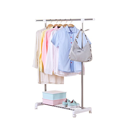 Siyushop Single Garment Rack- Adjustable Clothes Hanging Rail Stainless Steel Clothes Stand with Wheels White (L88-150W43H95-160cm)