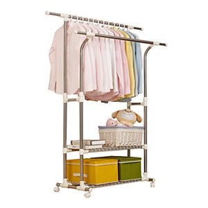 Boyang Stainless Steel Telescopic Clothes Rail, Folded Double Rod Airer, Mobile Clothes Hanger, Double Storage Shoe Rack, L95-155cm W43cm H120-160cm, Load-bearing 50cm