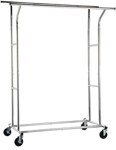 AmazonBasics Rolling Double Rail Clothing Garment Rack on Wheels, Chrome Silver