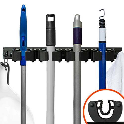 Broom & Mop Kitchen Garage Closet Tool Holder Storage System Black Aluminum Alloy Wall Mounted Rack 3 Rubber Grip Modular Adjustable (4 Grips, 4 Hooks)