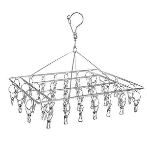 whatUneed Laundry Clothesline Hanging Rack, Stainless Steel Drying Clothes Hanger, Multiple Function Windproof Pegs Hook for Drying/Socks/Underwear/Clothes/Towels (36 Pack)