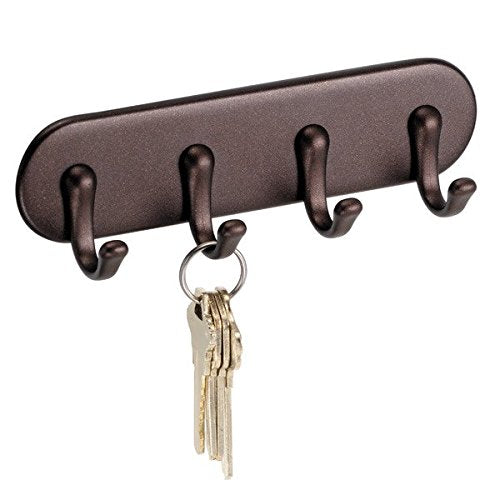 "iDesign York Self Adhesive Plastic Key Rack, 4-Hook Organizer for Kitchen, Mudroom, Hallway, Entryway, 1.5"" x 7"" x 5.5"" - Bronze"