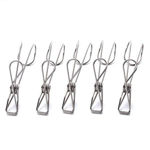 Vosarea 5PCS Stainless Steel Laundry Clothes Pins,Kitchen Tools Hanger Clips, Bag Chip Clips,Hanging Drying Rack Clotheslines Wire Clip Set, Travel Post Card Photo Picture Hangers,Binder Paper Clamps