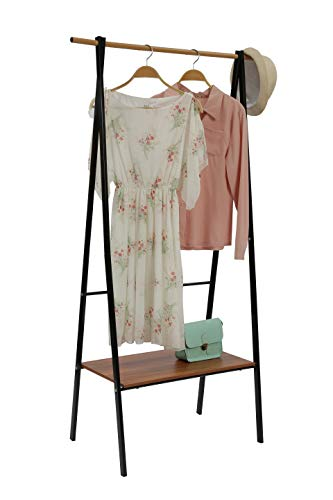 "JEROAL Heavy Duty Clothing Rack Garment Rack Entryway Free Standing Coat Rack with Hanger and 1-Tier Durable Shelf for Shoes Clothes Storage in Black,34.06""X16.73 X61.81(W X D X H)"
