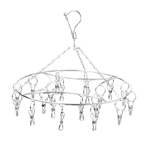 Laundry Clothesline Hanging Rack for Drying Clothing Set of 20 Stainless Steel Clothespins Round