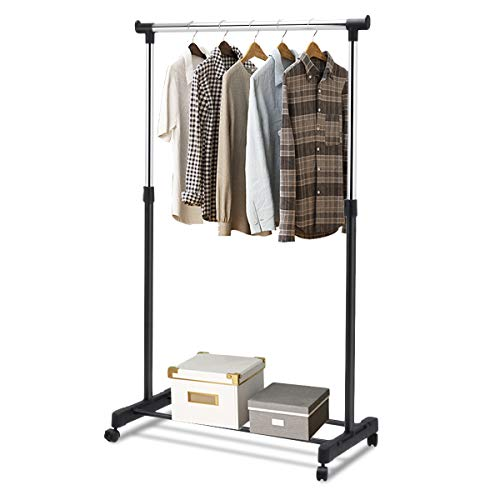 Tangkula Garment Portable Rolling Height Adjustable Clothes Shelf Rack, Black and Silver