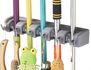 Hulless Broom Holder, Wall Mounted Orgnizer Storage Hooks, Mop Storage Tool Rack with 5 Ball Slots and 6 Hooks.