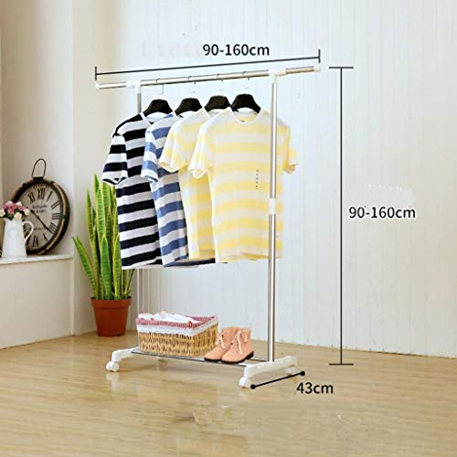 LE Stainless Steel Clothes Drying Rack,Drying Rack Single Rod Cooler Floor fold Indoor Household Hanger Balcony Stainless Steel Clothes Rod A